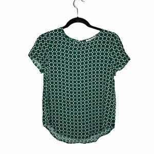 4/$25 H&M green printed blouse size 2